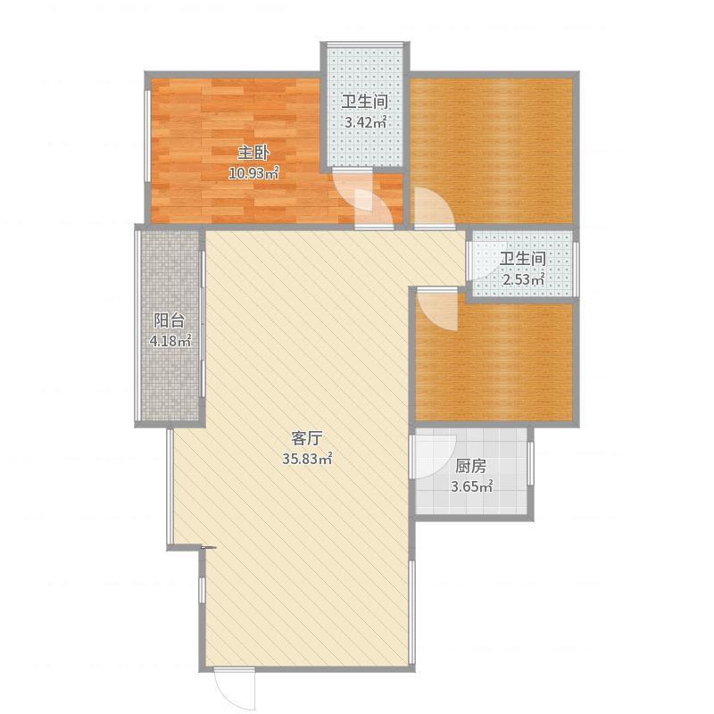 天汇城B8031室1厅2卫1厨96.00㎡户型图户型
