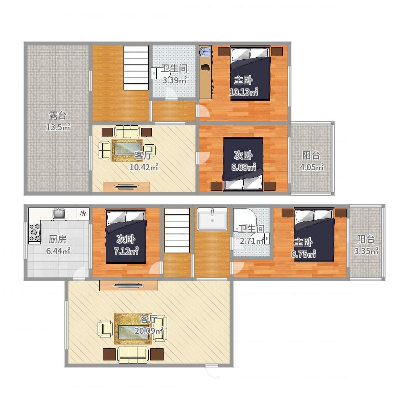 东尚怡园5楼2单元6+7户型图
