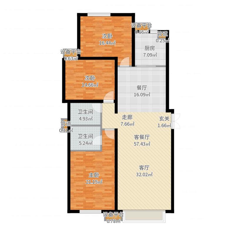 瑞城144.12㎡瑞城户型图D6-C户型3室2厅2卫1厨户型3室2厅2卫1厨-副本户型图