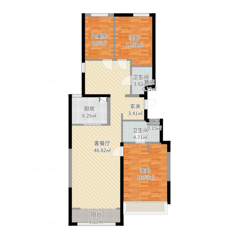 万科新里程132.00㎡6#、9#、10#、12#、13#、15#楼标准层L户型3室3厅2卫1厨户型图