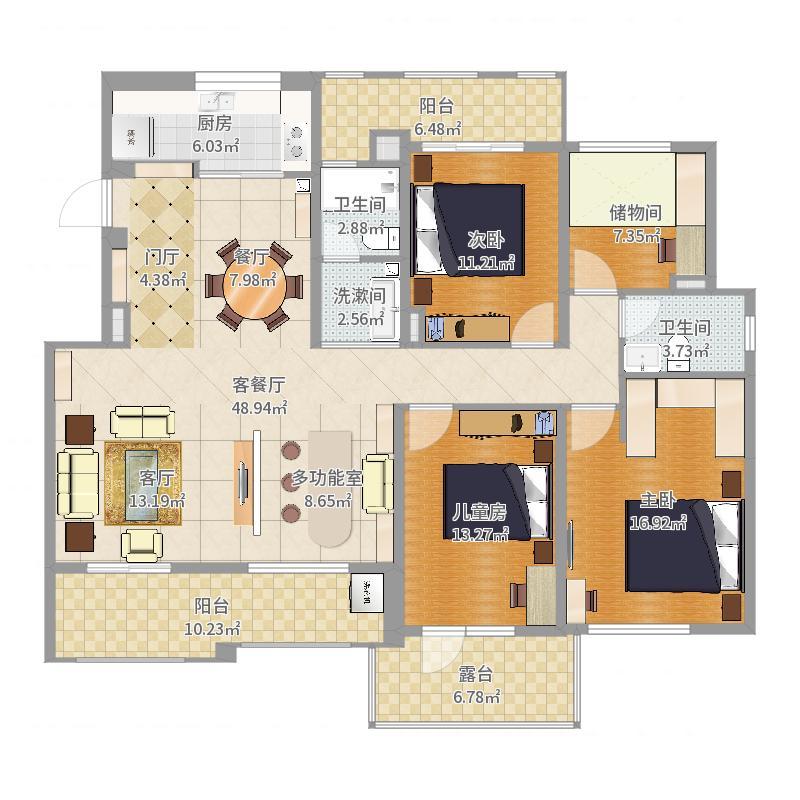 南昌市高新区绿地玫瑰城308栋1单元301室平面示意图-副本-副本户型图
