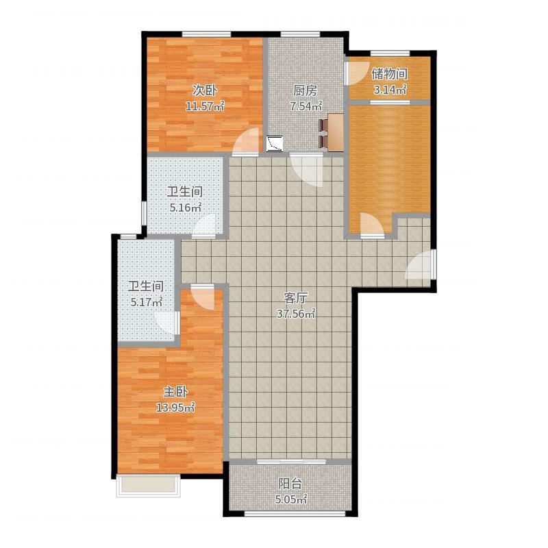 易水一号三室两厅一厨两卫-副本户型图