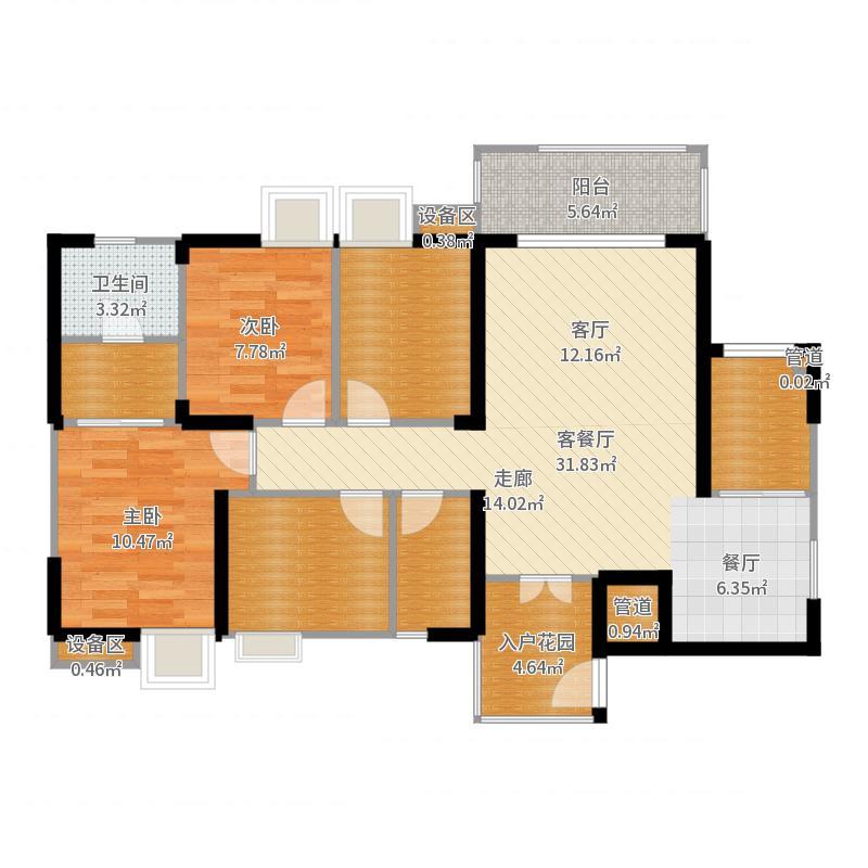 九华苑户型4室1厅2卫1厨-副本户型图