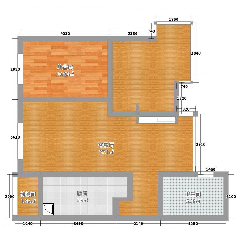 城上城3#2单元2301 两室一户型图