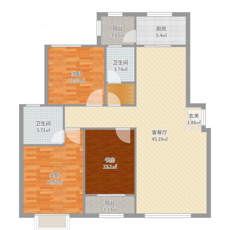 国赫天著137.00㎡1#4#15#福邸户型3室3厅2卫1厨-副本户型图