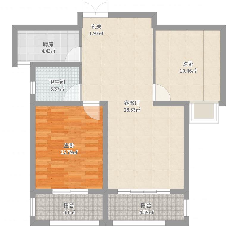 润德天悦城92.98㎡B-5#标准层4B户型2室2厅1卫1厨-副本-副本户型图