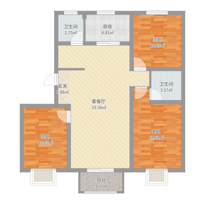 凤城天鹅湖庄园128.30㎡13#楼标准层C9户型3室3厅2卫1厨户型图