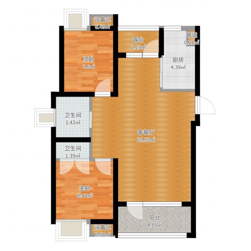 三盛颐景蓝湾86.00㎡两室两厅一卫户型2室2厅1卫户型图