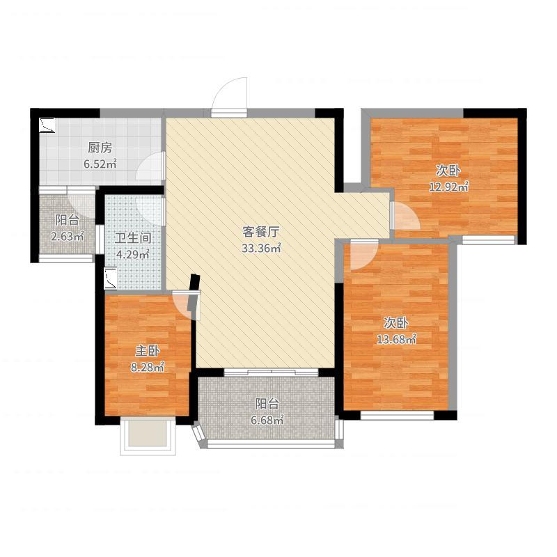恒大御景109.00㎡户型3室3厅1卫1厨-副本户型图