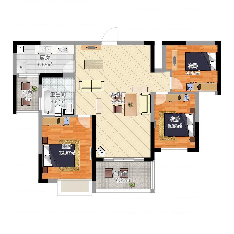 恒大御景105.00㎡户型3室3厅1卫1厨户型图