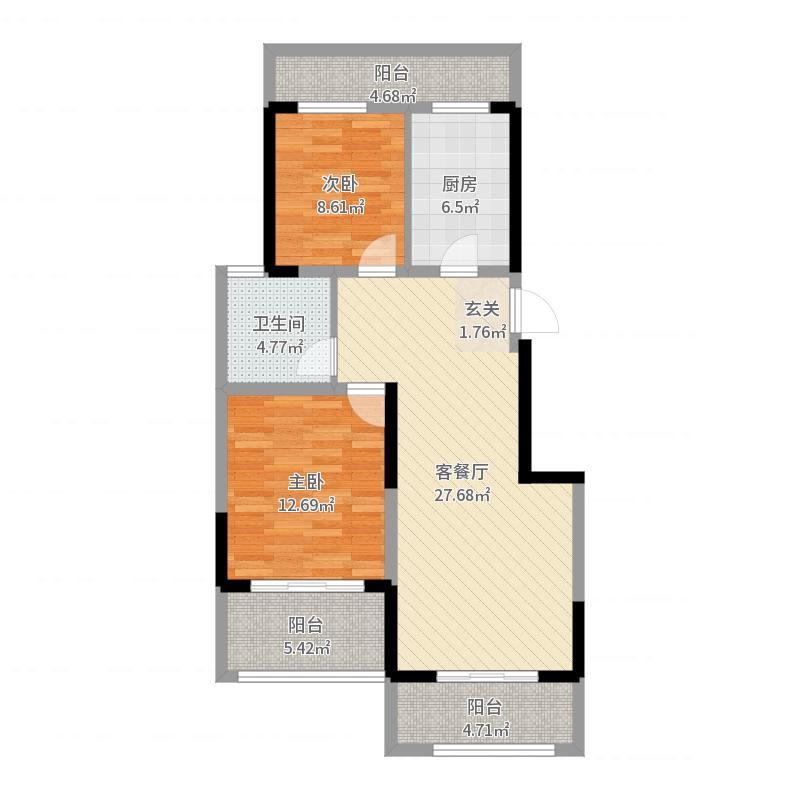 蓝海湾卡地亚85.00㎡C户型2室1厅1卫1厨户型图