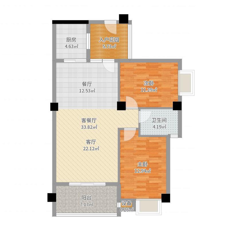 绿洲富城户型2室1厅1卫1厨-副本户型图