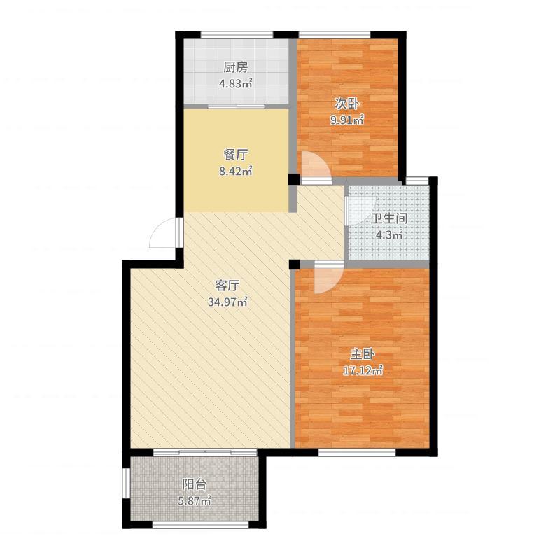 新湖庐山国际83.28㎡D15-B户型2室2厅1卫户型图