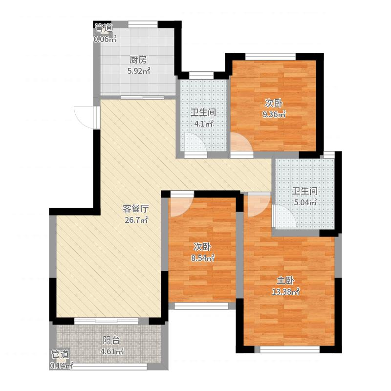 尚东新城邦二期112.50㎡F2户型3室2厅2卫1厨户型图