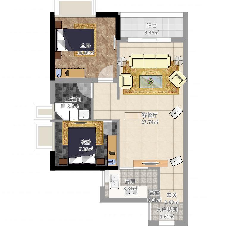 时代花城7.00㎡-01户型2室2厅1卫1厨-副本户型图