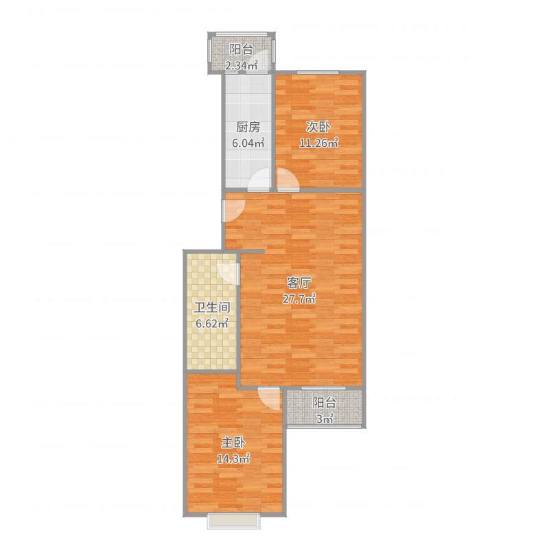 通惠家园88.00㎡两室一厅户型-副本户型图