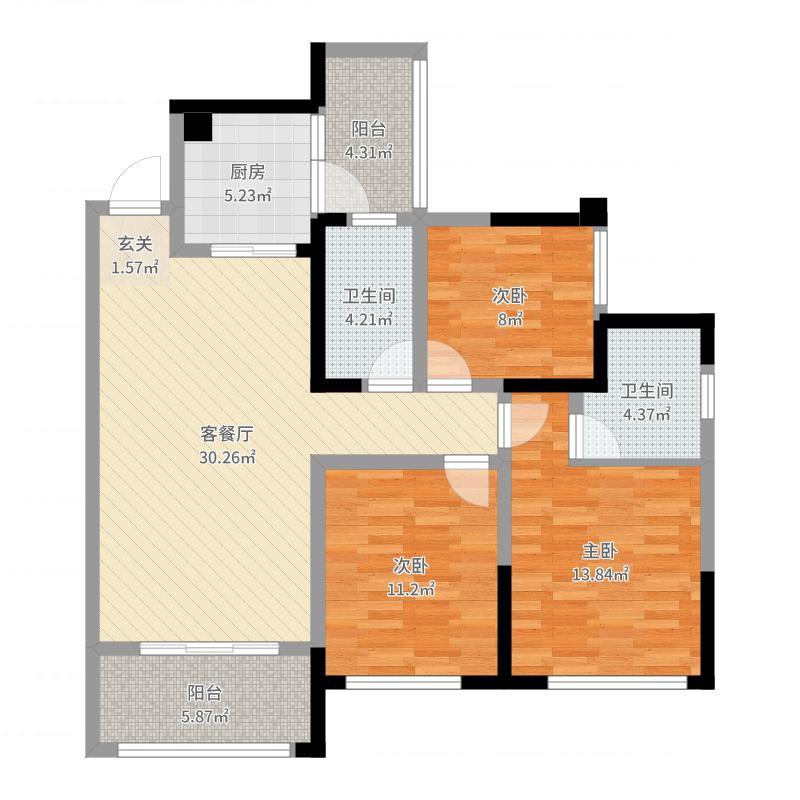 保利狮子湖106.00㎡香樟郡4栋L4户型3室3厅2卫1厨-副本户型图