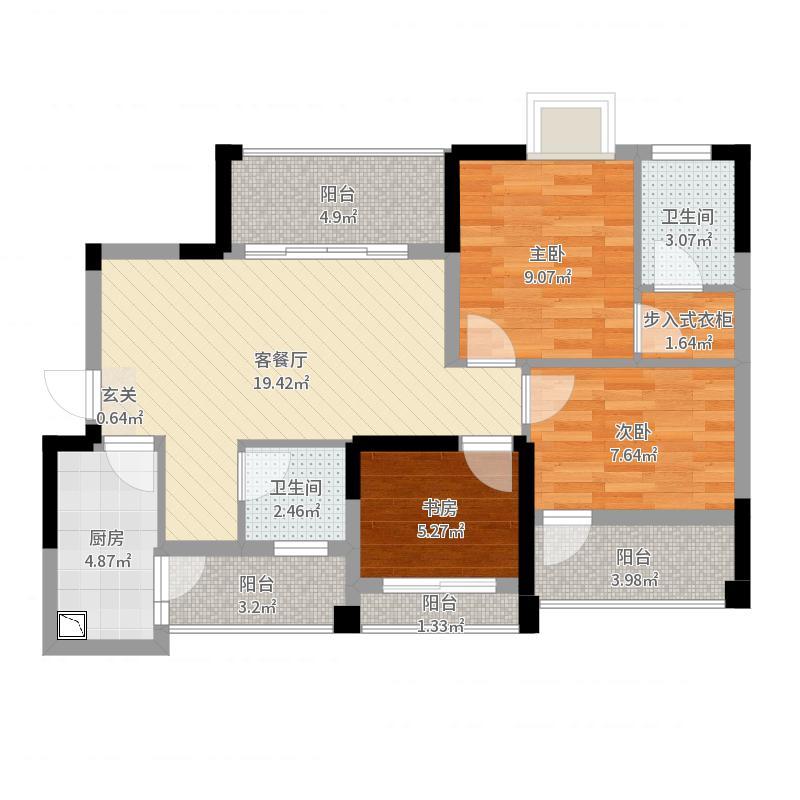 成功悦都12.20㎡1、2号楼标准层B户型3室2厅2卫1厨户型图