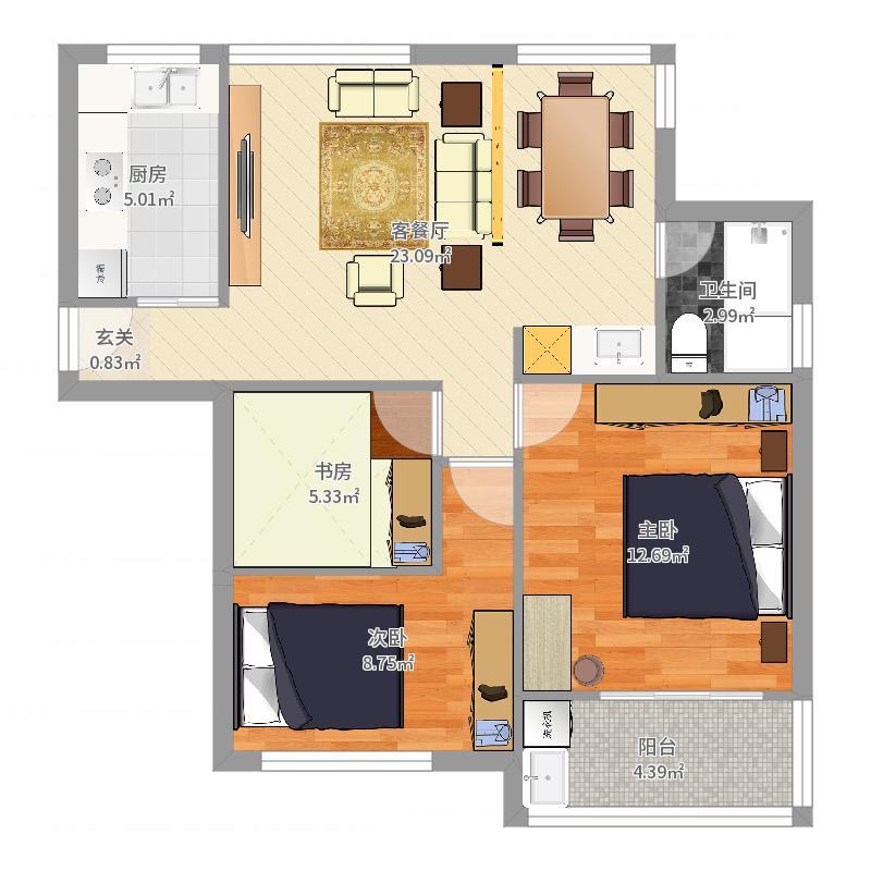 联合世纪新筑-方案1户型图