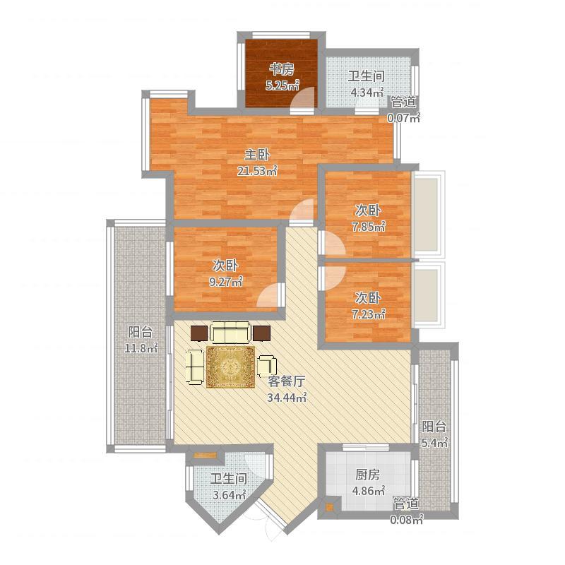 南宁万达茂142.00㎡D5栋A户型5室2厅2卫1厨-副本户型图