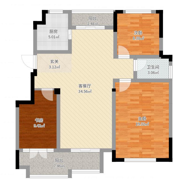 同�・玫瑰庄园126.87㎡2户型3室2厅2卫1厨-副本户型图