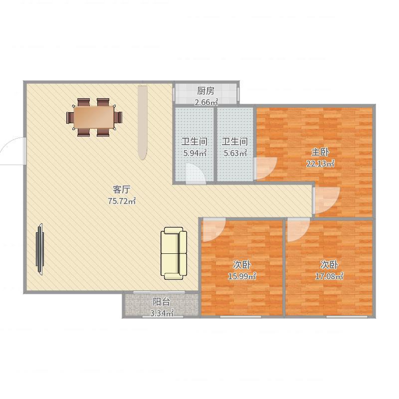 华林御景三房两厅两卫一阳台户型图