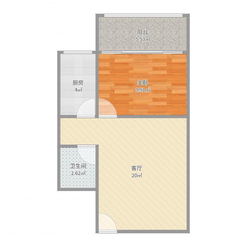 1室1厅1卫 42.06平米 西南户型图