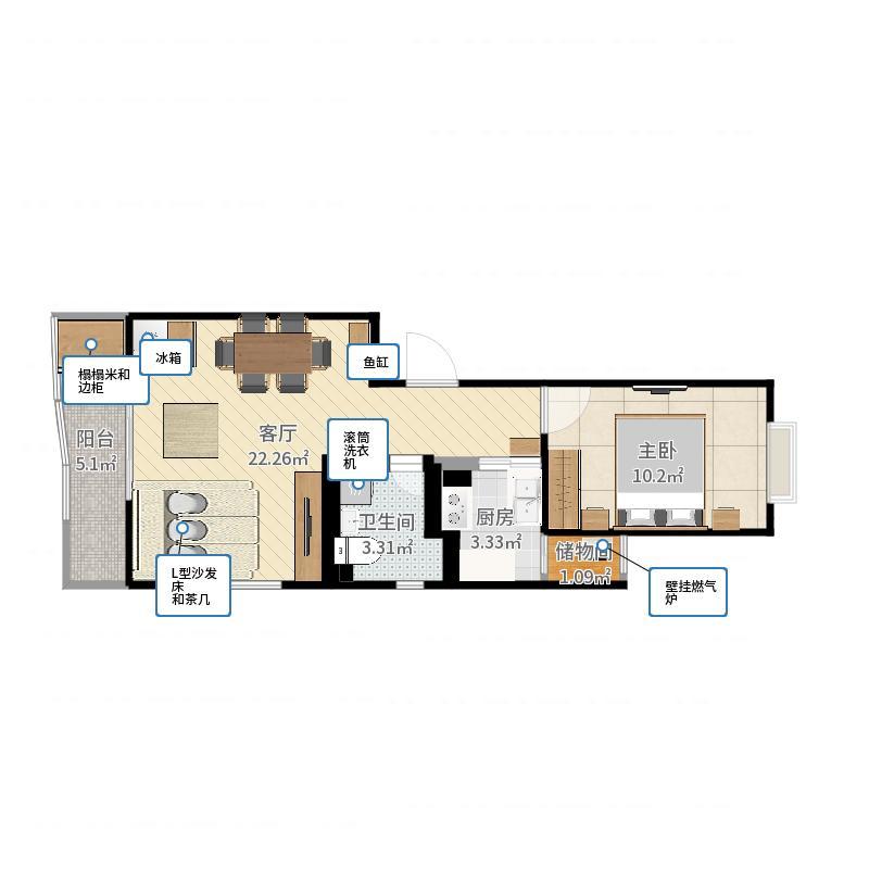一室一厅-修改1-副本户型图