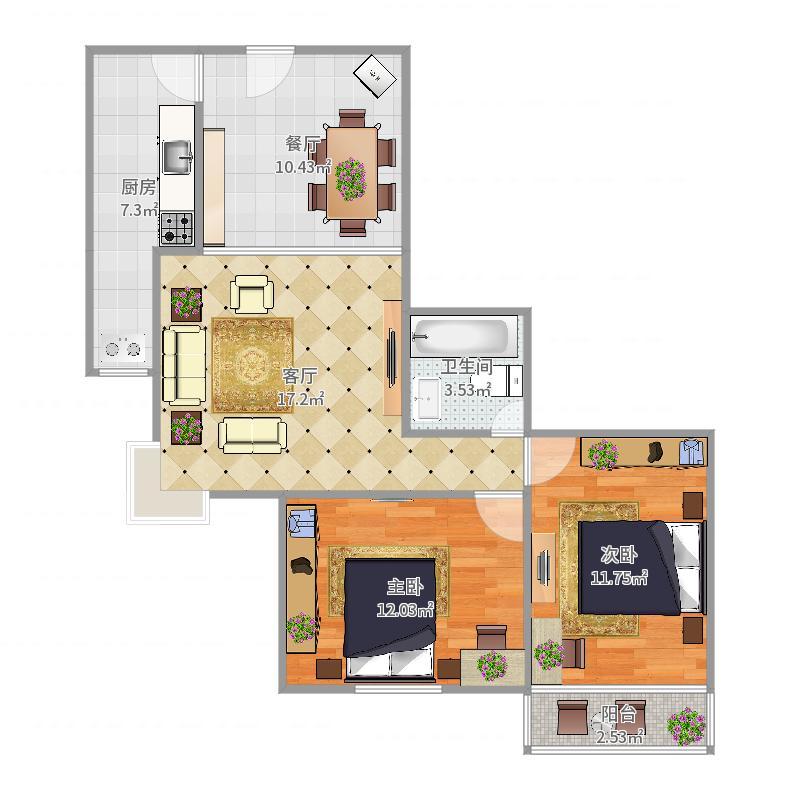 水映兰庭2-1户型图