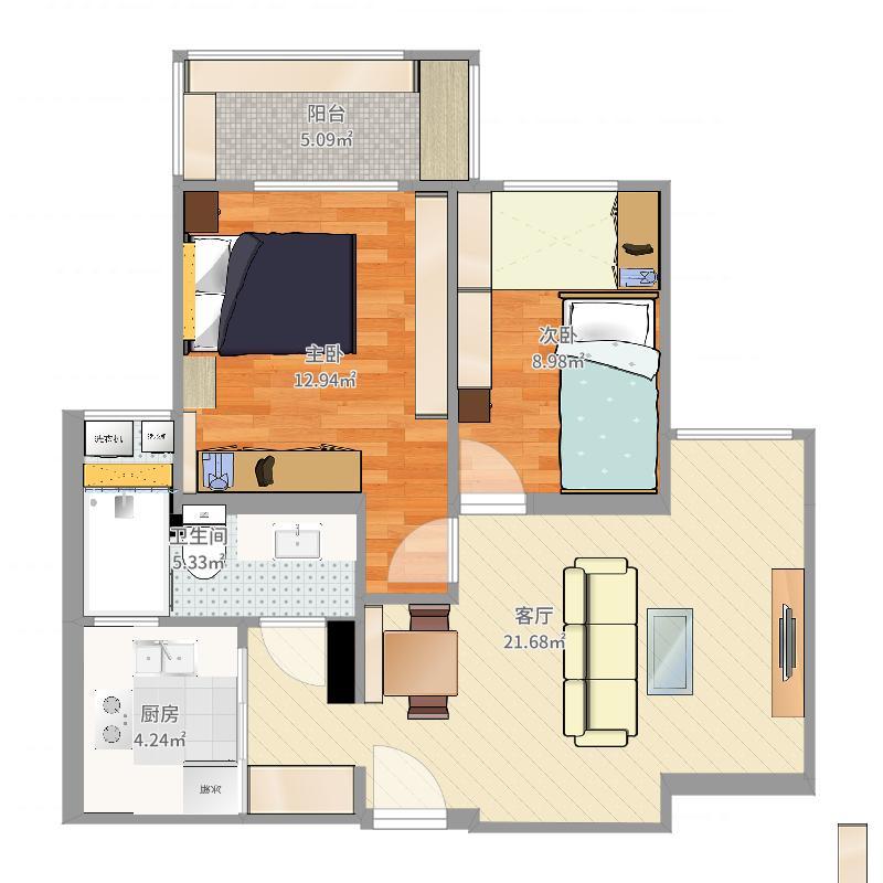 两室一厅吊顶-副本-副本户型图