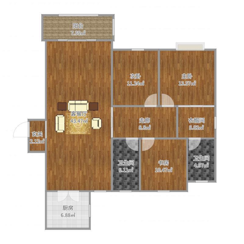 130方北欧三房-副本-副本户型图
