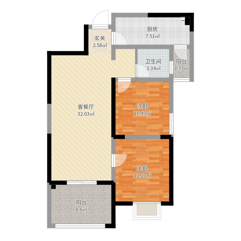 城春.中央公园Ⅱ期92.00㎡H户型2室2厅1卫-副本-副本户型图