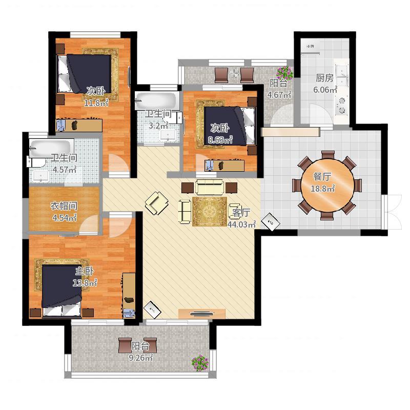 第六都142.00㎡13号楼B1户型3室2厅2卫户型图