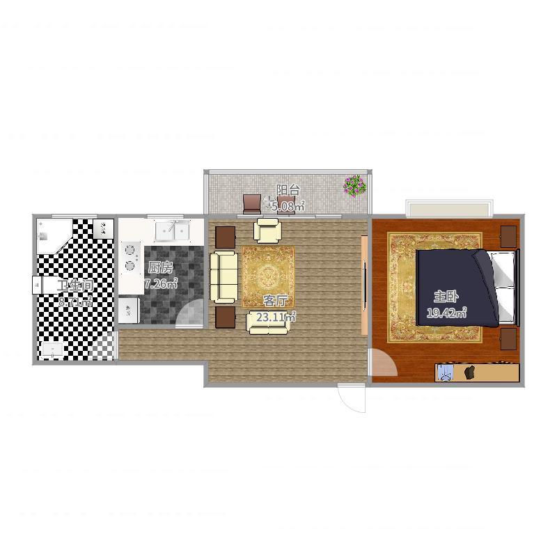 凯旋名邸10栋1单元1402室63平户型图
