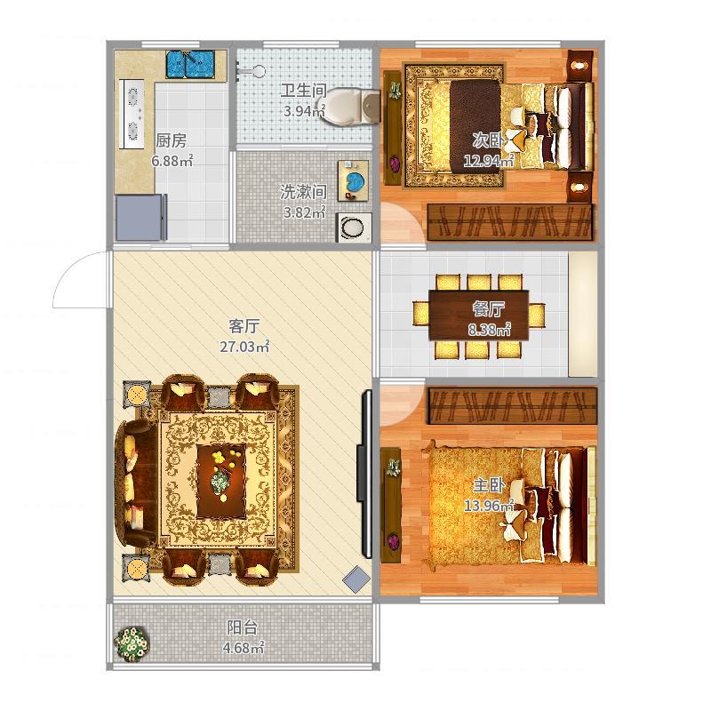 恒祥公寓1#501户型图