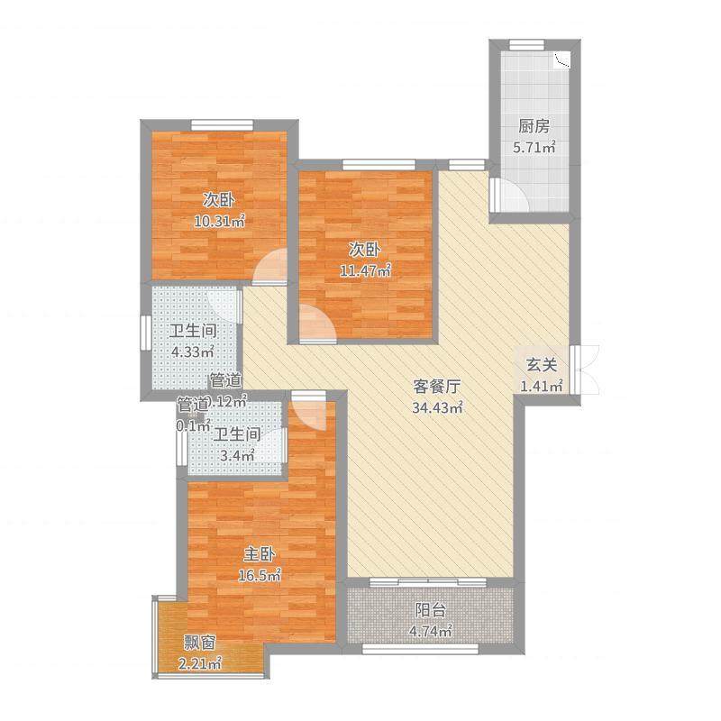 凰家公元128.00㎡D户型3室3厅2卫1厨户型图