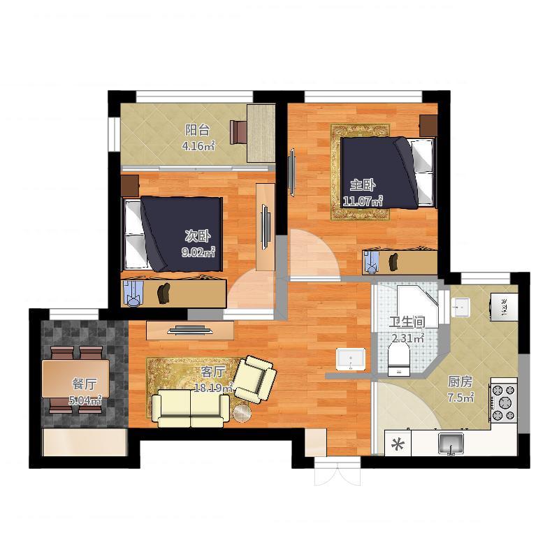 汇福家园B5-78平方-两室两厅一卫-MUJI风-副本户型图