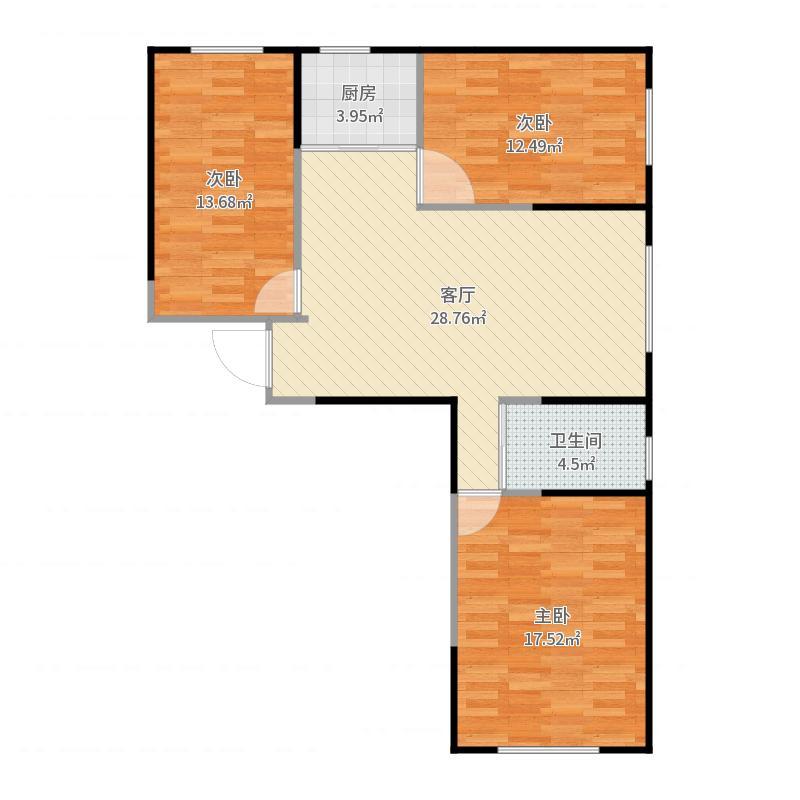 金域蓝山公馆104三居室户型图