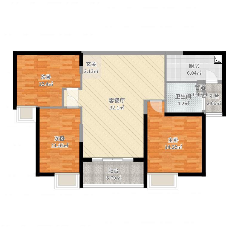 恒大绿洲110.00㎡三期21#户型3室3厅1卫1厨-副本户型图