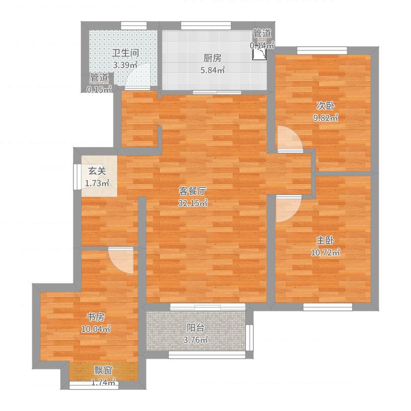 万科・幸福里95.00㎡二期8#1#楼A2户型3室3厅1卫1厨户型图