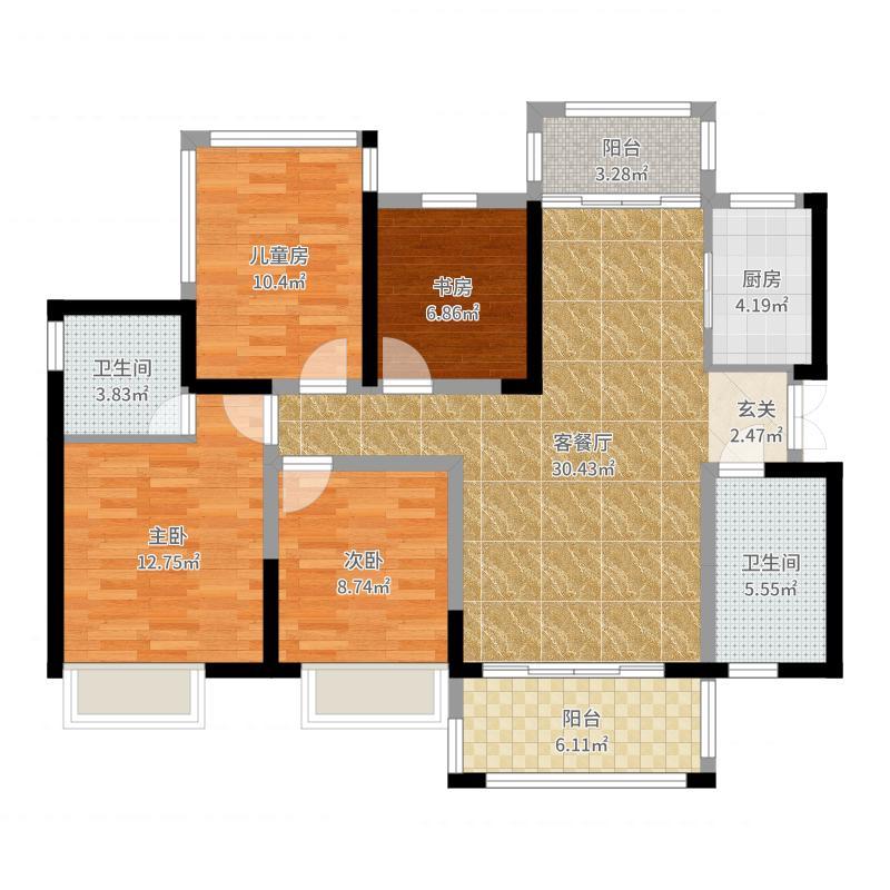 户型4室1厅2卫1厨-115m2户型图