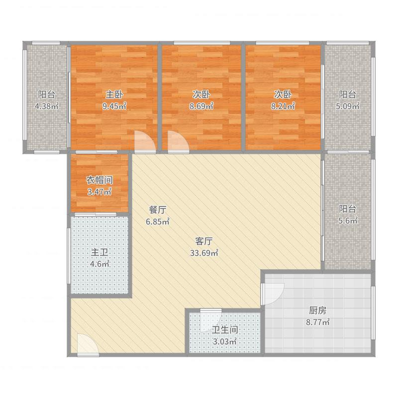 3室2厅1卫 95.0平米 南户型图
