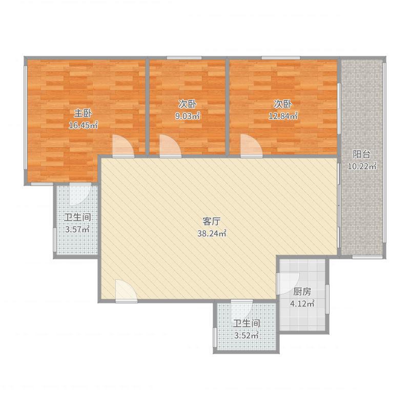 3室2厅1卫 98.0平米 东北户型图