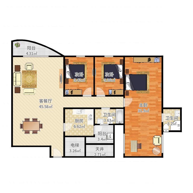 1016+刘文禹+第12套+东海花园+169㎡+S1003048户型图