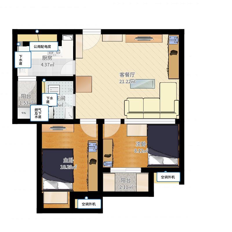 望京有人醉A1、B1(2室1厅1卫)户型图户型图