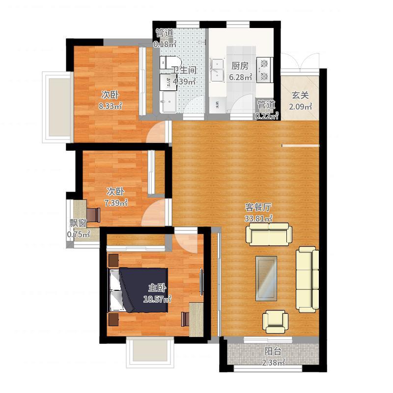 上善颐园116.00㎡C户型3室2厅1卫1厨-副本-副本户型图