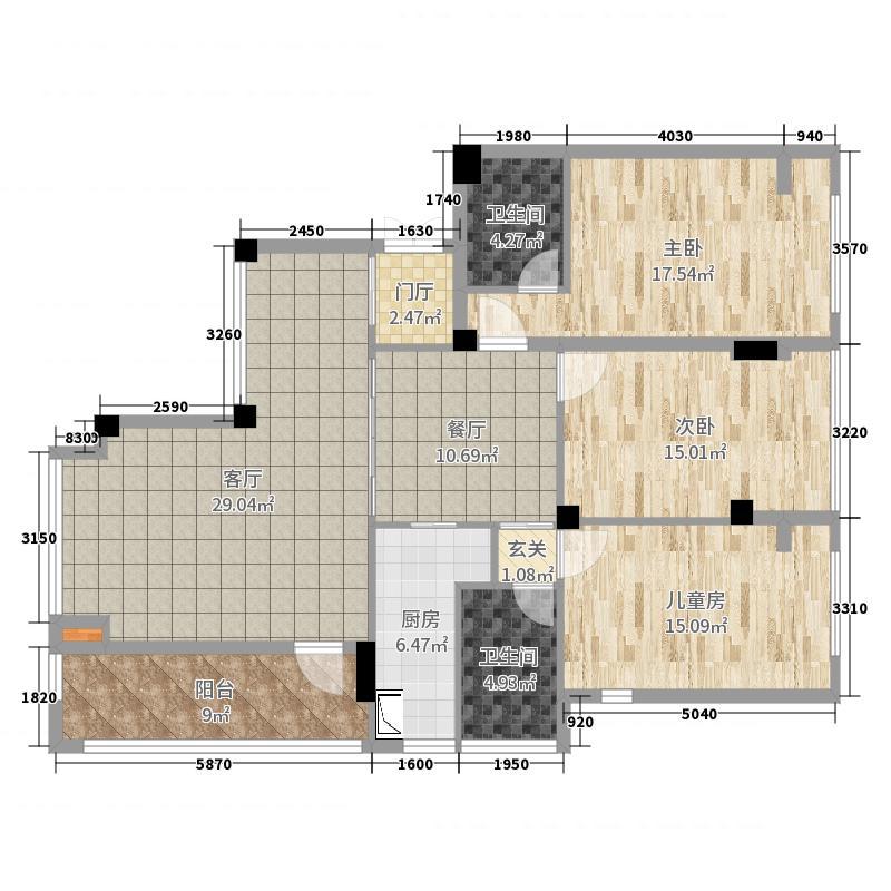群升白玛郡2号楼803户型户型图