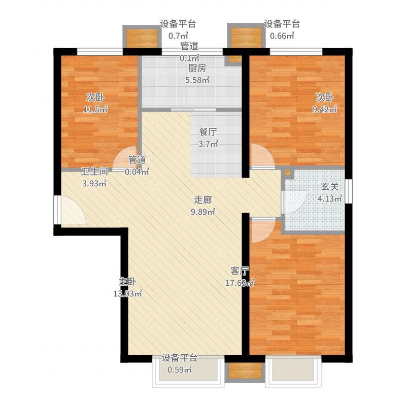 蓝泽大金城119.00㎡3-A1/A2户型3室2厅1卫-副本户型图