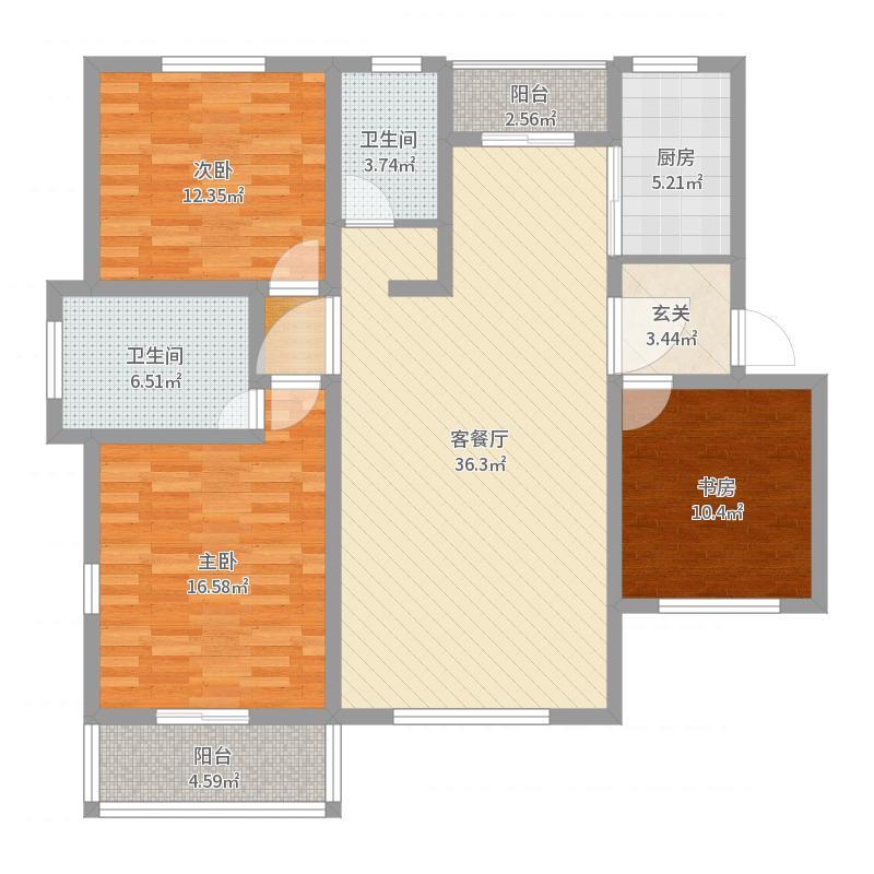天瑞凤鸣花园123.20㎡花园洋房G4户型4室2厅2卫1厨-副本户型图