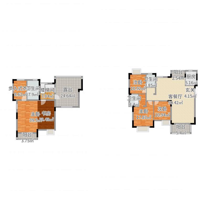 华润国际社区217.00㎡二期洋房央玺E1-3户型4室4厅3卫1厨户型图